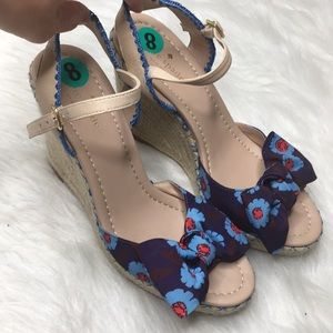 Kate Spade Blue Jane Floral Wedge Espadrille Sanda
